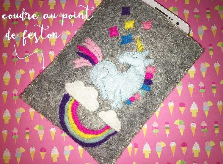 Medium pochette licorne feston