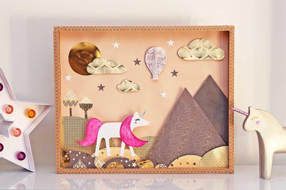 Medium diy cadre licorne papier decoupe 13