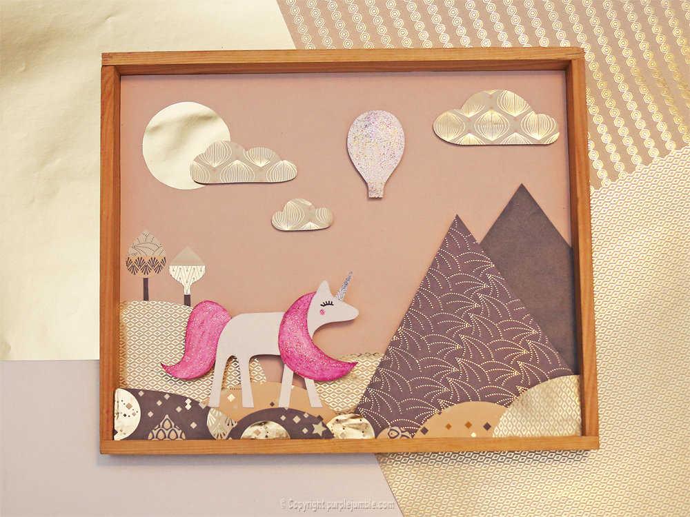 Medium diy cadre licorne papier decoupe 12