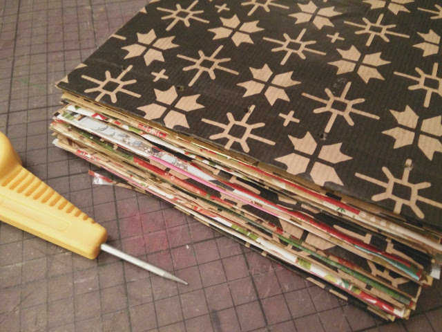 Medium christmas photo album made from recycled wrapping paper 13
