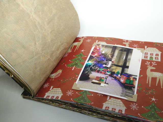 Medium christmas photo album made from recycled wrapping paper 20