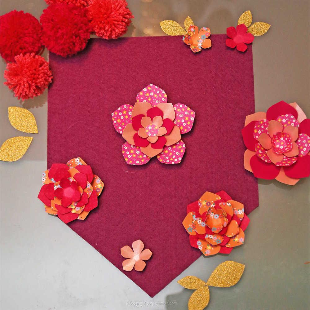 Medium banniere feutrine fleurs papier pompons 11
