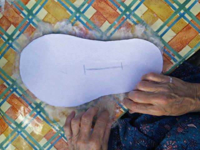 Medium hand felted slippers 05