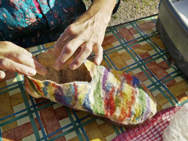 Medium hand felted slippers 11