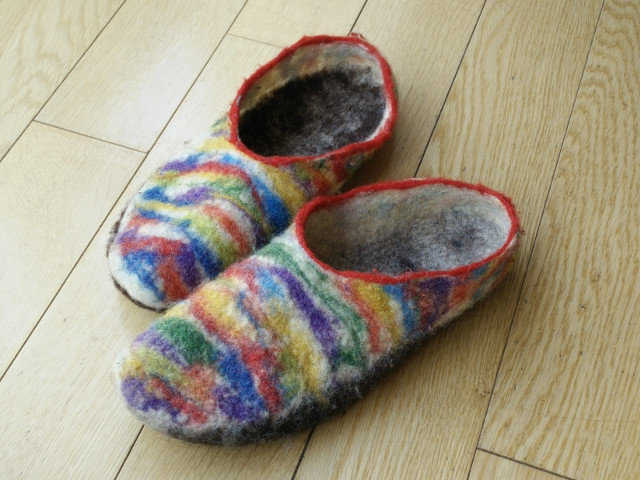 Medium hand felted slippers 17