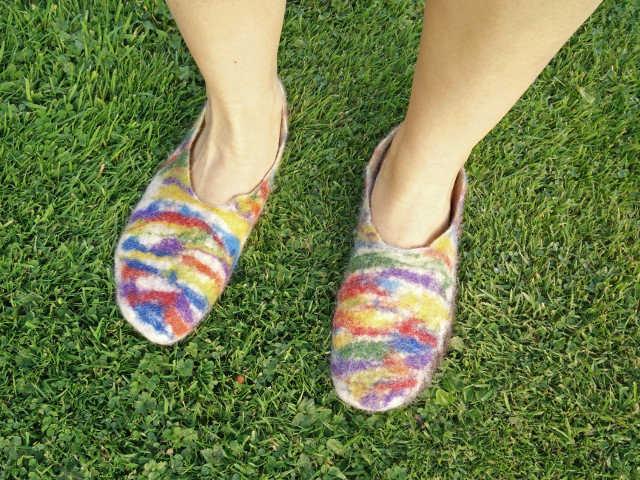 Medium hand felted slippers 15
