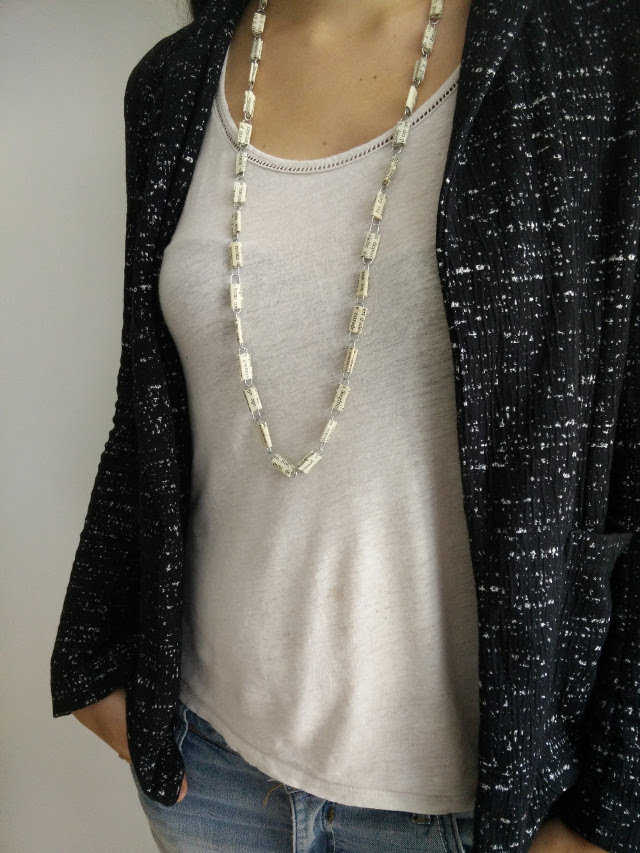 Medium necklace made from paper clips and recycled paper 21