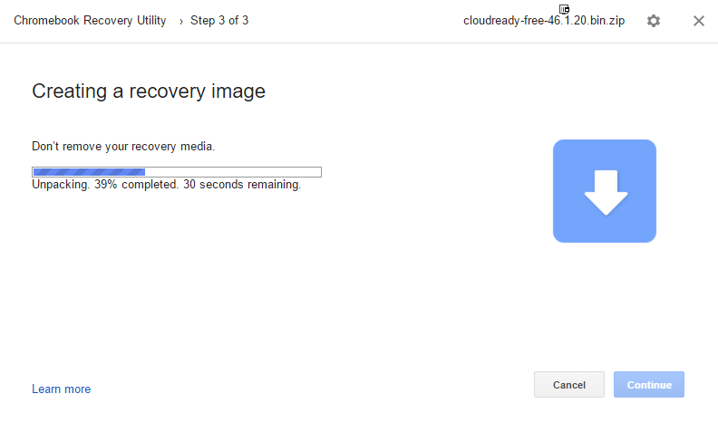 Medium chrome recorvery utiliti en fonctionnement