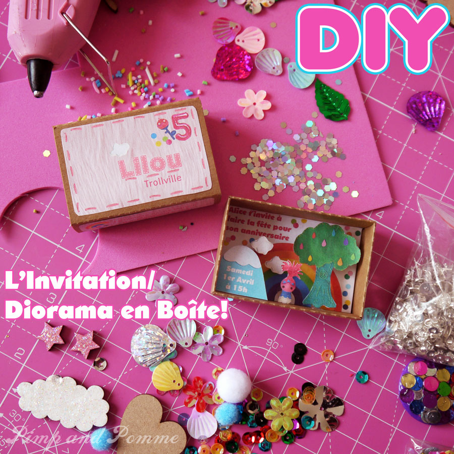 Medium invitation diorama en boite trolls