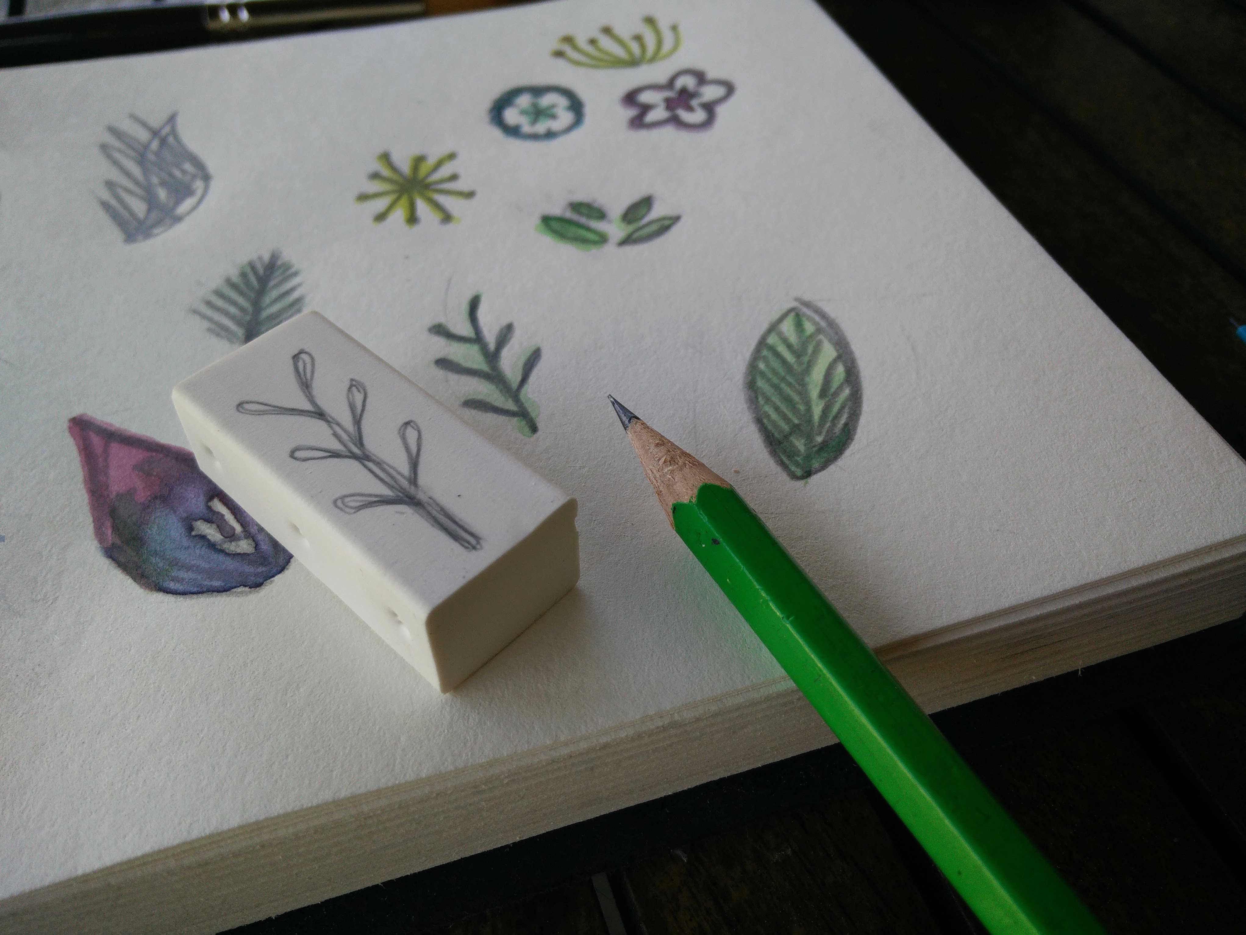 Medium hand carved rubber stamps 03