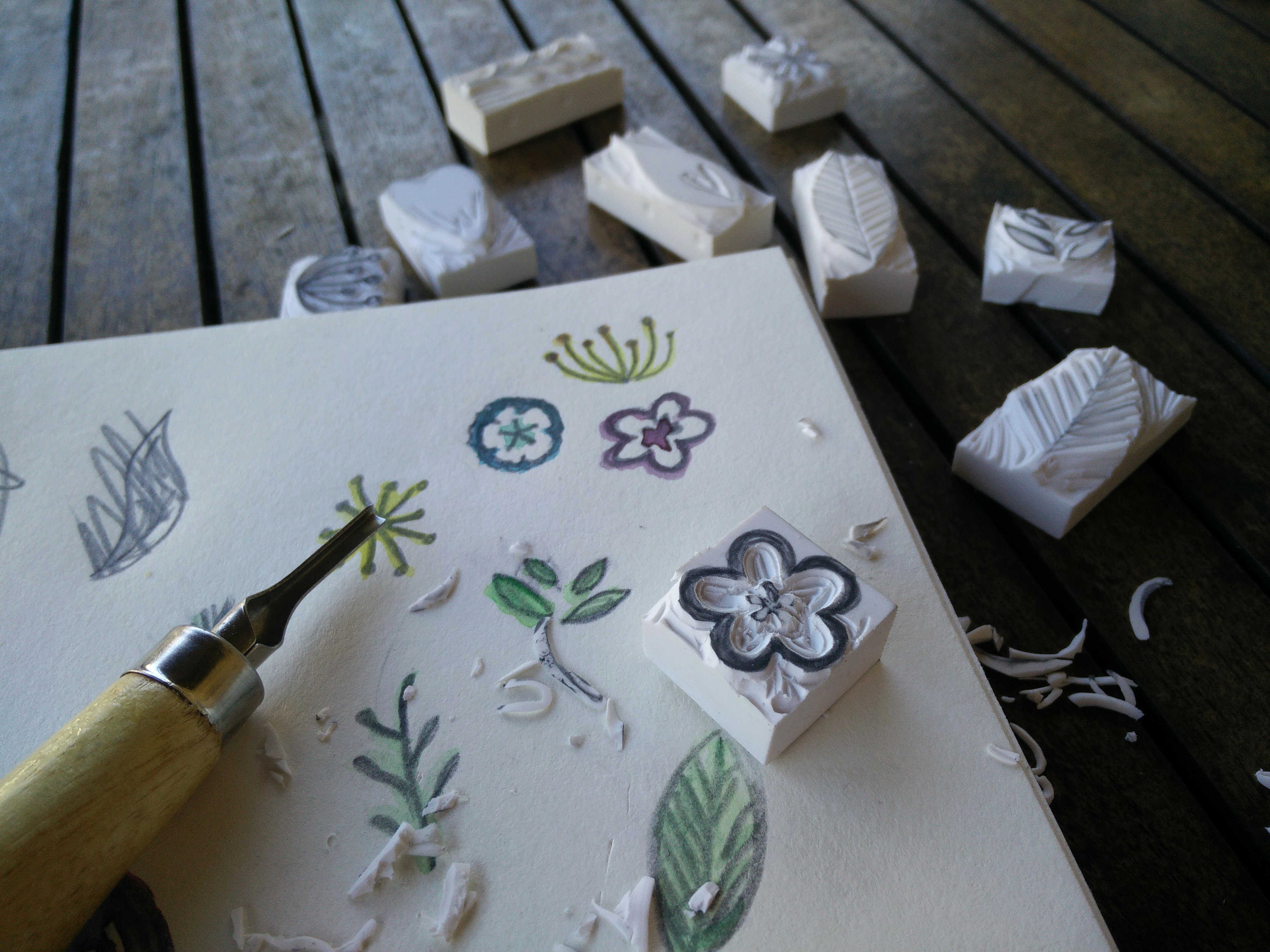 Medium hand carved rubber stamps 06