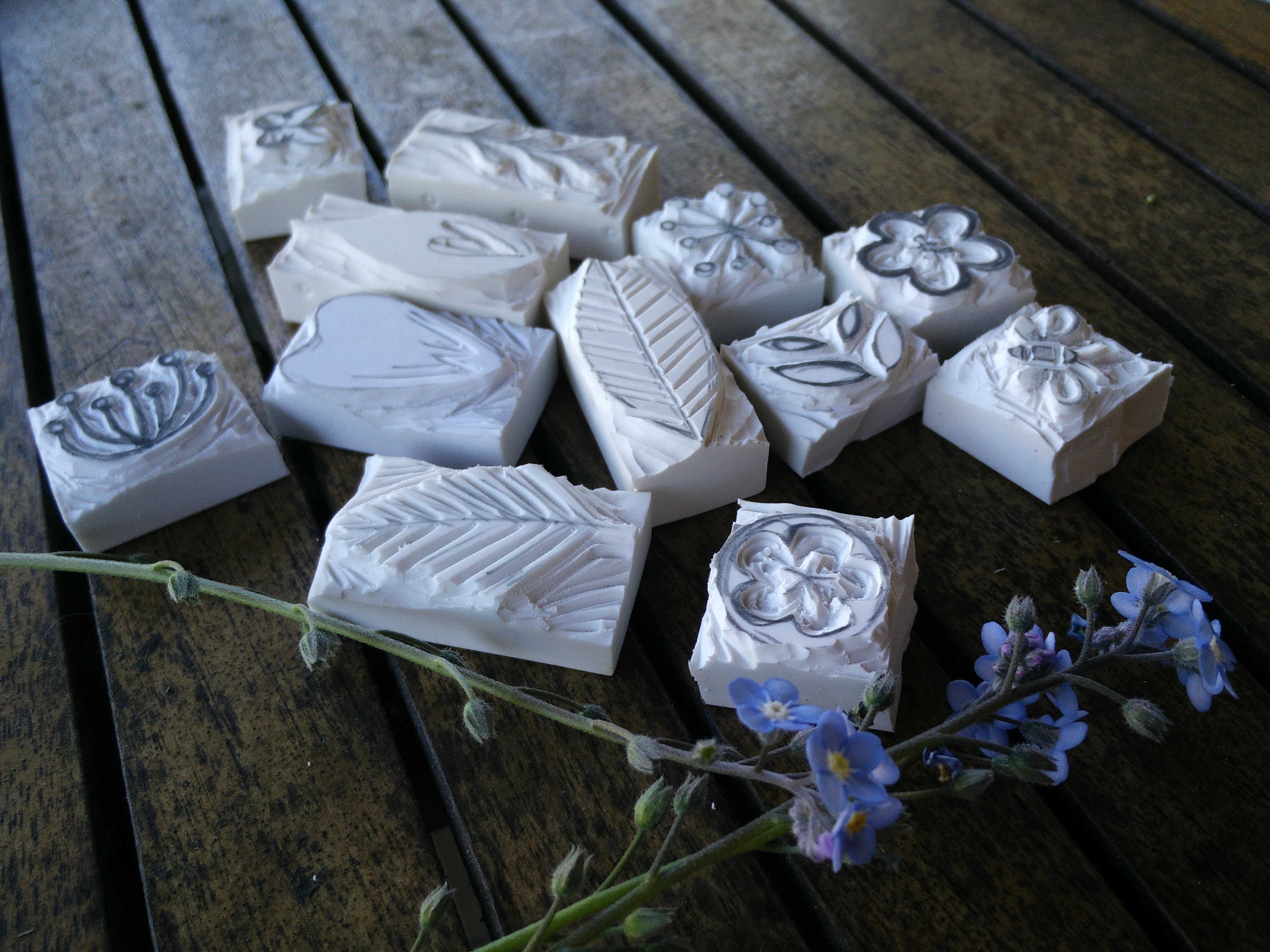 Medium hand carved rubber stamps 07
