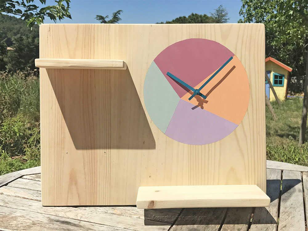 Medium diy etagere bois horloge 21