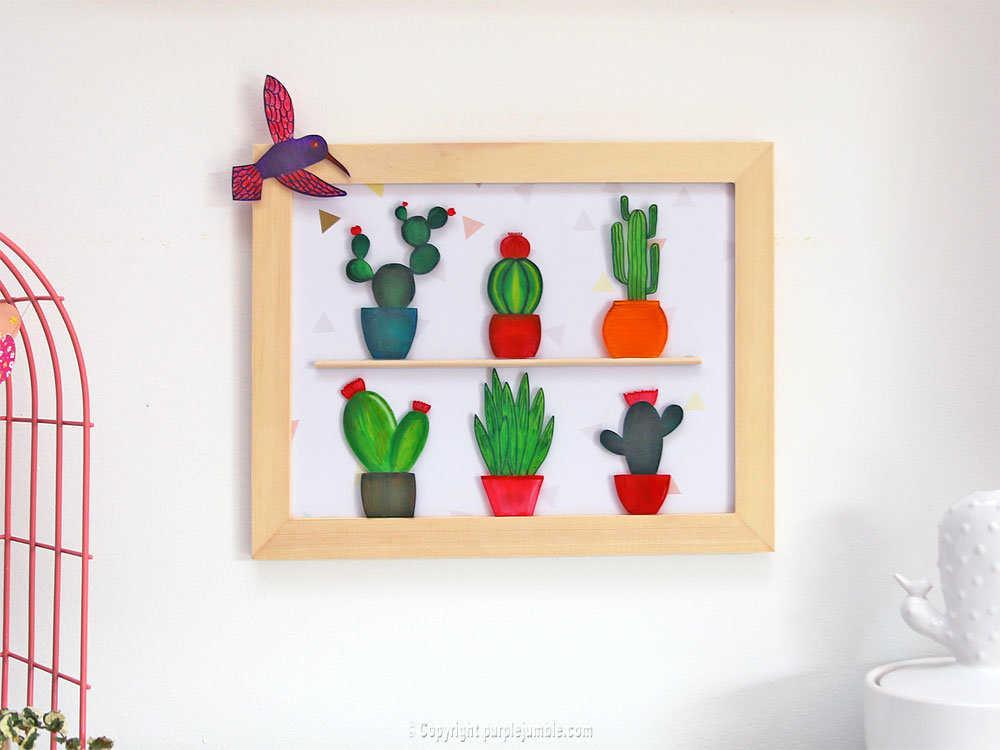 Medium diy cadre cactus plastique dingue mur