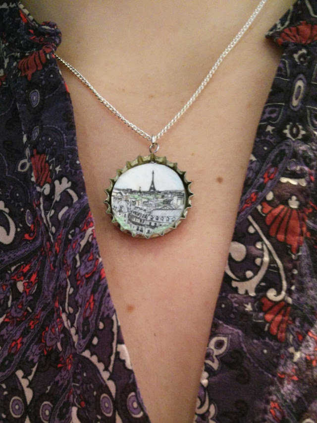Medium shrink plastic jewellery with recycled bottle tops 92