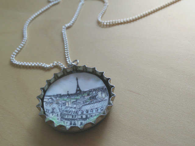 Medium shrink plastic jewellery with recycled bottle tops 90